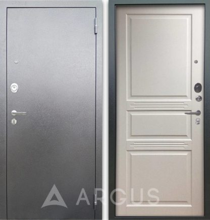 Железная дверь Аргус Люкс АС Серебро антик Джулия-2 Эмаль Белый жемчуг