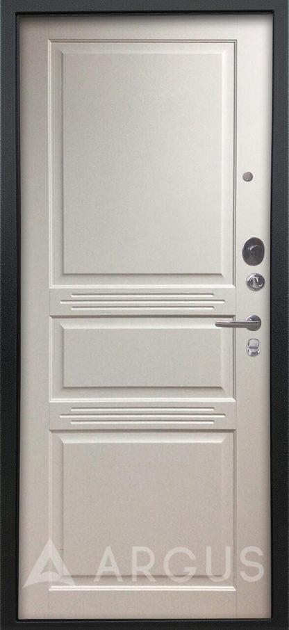 Заказать металлическую входную дверь Аргус Люкс ПРО Черный шелк Джулия-2 Эмаль Белый жемчуг