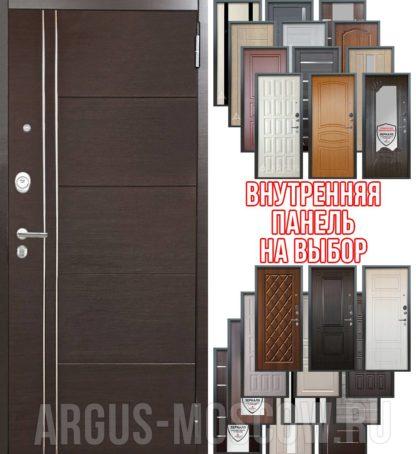 Металлическая дверь Аргус Люкс 3К 2П Лофт Венге горизонт