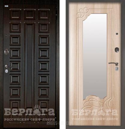 Заказать в Москве входную дверь с зеркалом Берлога Оптима 2П Сенатор Венге/Ольга Ларче светлый