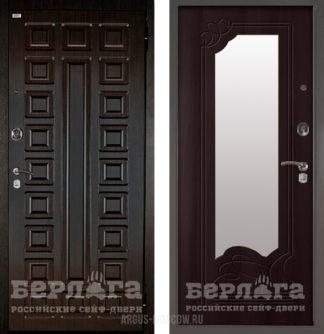Заказать железную входную дверь с зеркалом Берлога Оптима 2П Сенатор Венге/Ольга Венге тисненый