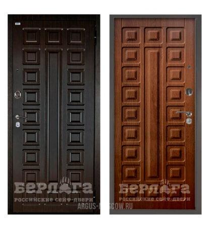 Входная металлическая дверь Берлога Оптима 2П Сенатор Венге/Сенатор Дуб рустикальный