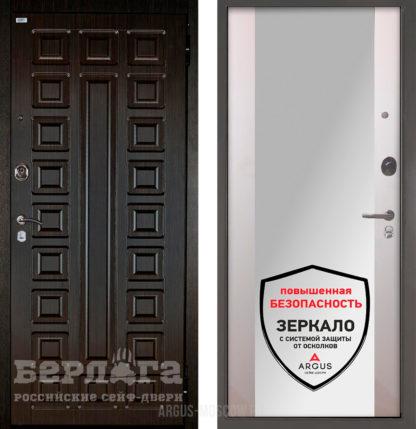 Металлическая дверь с зеркалом Берлога Оптима 2П Сенатор Венге/Вояж Белое дерево