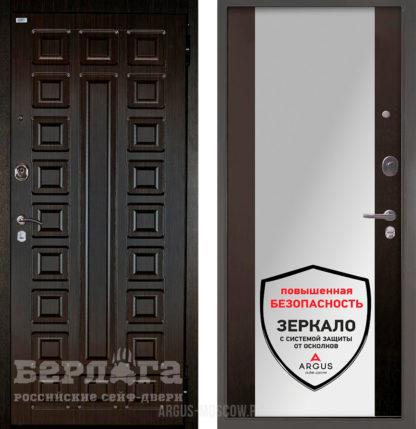 Стальная дверь с зеркалом Берлога Оптима 2П Сенатор Венге/Вояж Венге тисненый