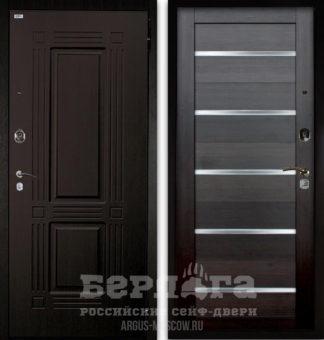 Заказать входную дверь со стеклом Берлога Оптима 2П ТРИУМФ Венге тисненый/АЛЕКСАНДРА Вельвет