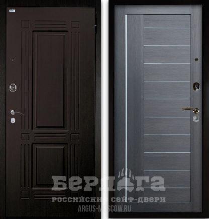 Входная дверь со стеклом и молдингами Берлога Оптима 2П ТРИУМФ Венге тисненый/ДИАНА Лунная ночь