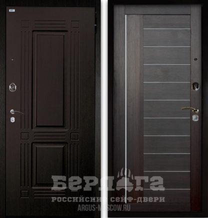 Заказать входную дверь со стеклом и молдингами Берлога Оптима 2П ТРИУМФ Венге тисненый/ДИАНА Вельвет