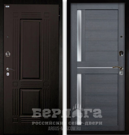 Дверь Берлога Оптима 2П ТРИУМФ Венге тисненый/МИРРА Лунная ночь со стеклом и молдингами