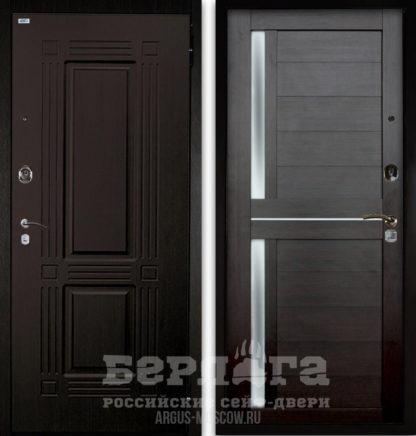 Входная металлическая дверь со стеклом и молдингами Берлога Оптима 2П ТРИУМФ Венге тисненый/МИРРА Вельвет