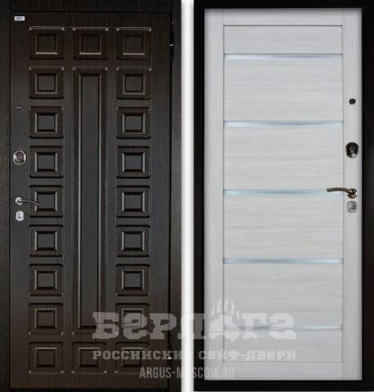 Заказать белую стальную сейф-дверь со стеклом Берлога Оптима 2П СЕНАТОР Венге/АЛЕКСАНДРА Буксус
