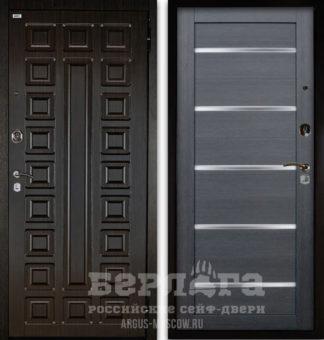 Входная дверь со стеклом Берлога Оптима 2П СЕНАТОР Венге/АЛЕКСАНДРА Лунная ночь