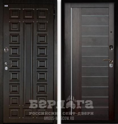 Сейф-дверь с молдингами и стеклом Берлога Оптима 2П СЕНАТОР Венге/ДИАНА Вельвет