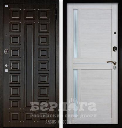 Входная металлическая дверь со стеклом и молдингами Берлога Оптима 2П СЕНАТОР Венге/МИРРА Буксус