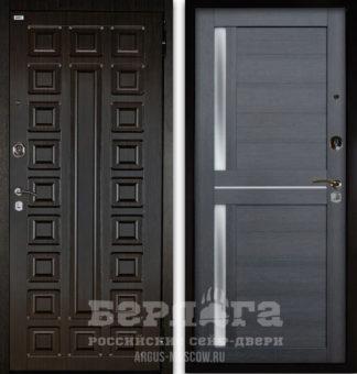 Заказать входную дверь со стеклом и молдингами Берлога Оптима 2П СЕНАТОР Венге/МИРРА Лунная ночь