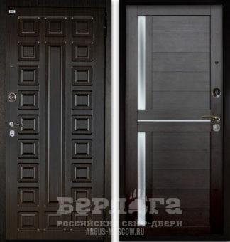 Купить в Москве сейф-дверь со стеклом и молдингами Берлога Оптима 2П СЕНАТОР Венге/МИРРА Вельвет