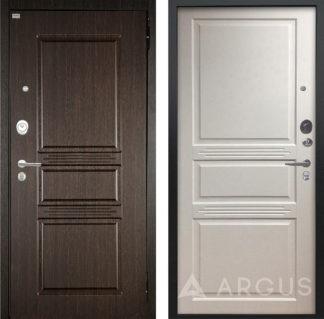 Металлическая дверь Аргус Люкс ПРО 3К 2П Черный шелк Сабина Венге/Джулия-2 Эмаль Белый жемчуг