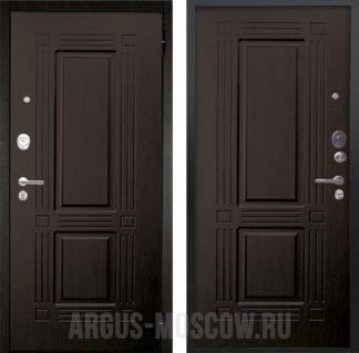 Темная входная дверь для квартиры Аргус Люкс ПРО 2П Черный шелк Триумф Венге/Триумф Венге тисненый