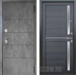 Металлическая входная дверь со стеклом Аргус Люкс ПРО 2П Серебро антик Агат Темный бетон/Мирра Лунная ночь