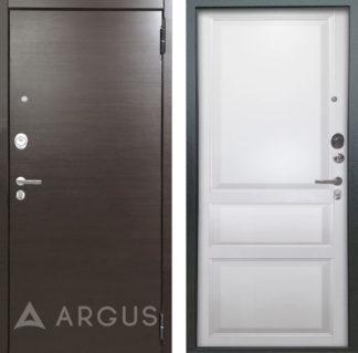 Дверь для квартиры Аргус Люкс ПРО 2П Серебро антик Элегант Венге горизонт/Каролина Эмаль белая