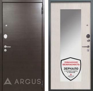 Светлая входная дверь с зеркалом Аргус Люкс ПРО 2П Серебро антик Элегант Венге горизонт/Милли Ларче светлый