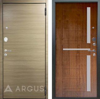 Металлическая входная дверь со стеклом Аргус Люкс ПРО 2П Серебро антик Элегия Дорс светлый горизонт/Альфред Дуб золотой