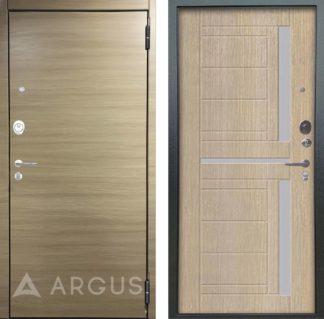 Входная дверь со стеклом Аргус Люкс ПРО 2П Серебро антик Элегия Дорс светлый горизонт/Альфред Капучино