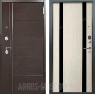 Входная железная дверь с черным зеркалом Аргус Люкс ПРО 2П Серебро антик Лофт Венге горизонт/Дуэт Белое дерево