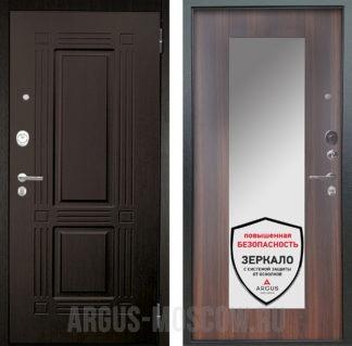 Входная железная дверь с зеркалом Аргус Люкс ПРО 2П Серебро антик Триумф Венге/Милли Коньяк Калифорния
