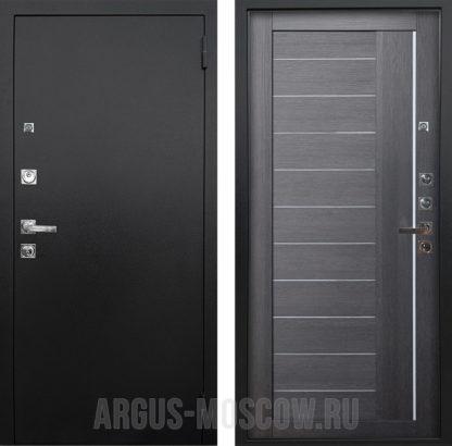 Стальная дверь со стеклом и молдингами Аргус Люкс ПРО 3К Черный шелк Диана Лунная ночь
