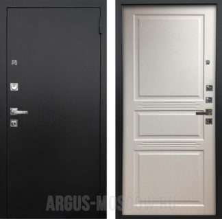 Входная дверь Аргус Люкс ПРО 3К Черный шелк Джулия Белый жемчуг