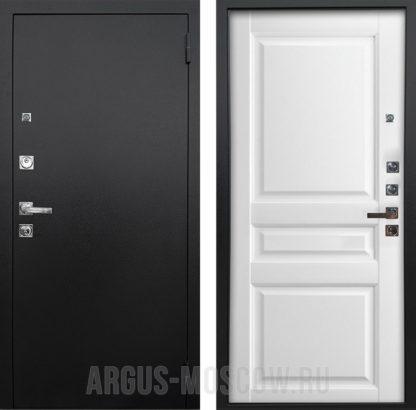 Стальная сейф дверь Аргус Люкс ПРО 3К Черный шелк Каролина Белая эмаль