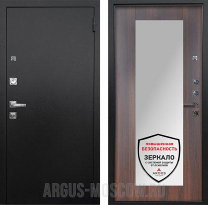 Входная сейф дверь с зеркалом Аргус Люкс ПРО 3К Черный шелк Милли Коньяк Калифорния