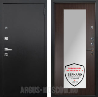 Входная дверь с зеркалом Аргус Люкс ПРО 3К Черный шелк Милли Венге