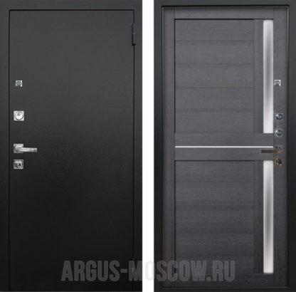 Железная входная дверь с молдингами и стеклом Аргус Люкс ПРО 3К Черный шелк Мирра Лунная ночь