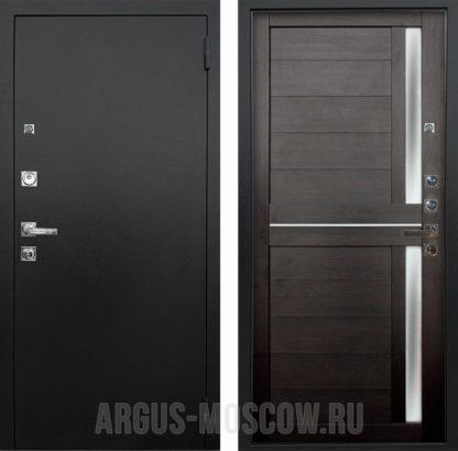 Сейф дверь с молдингами и стеклом Аргус Люкс ПРО 3К Черный шелк Мирра Вельвет