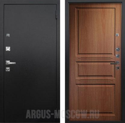 Стальная входная дверь Аргус Люкс ПРО 3К Черный шелк Сабина Дуб золотой