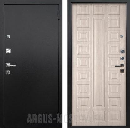Входная стальная дверь Аргус Люкс ПРО 3К Черный шелк Сенатор Ларче светлый