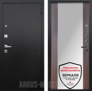 Входная дверь с зеркалом Аргус Люкс ПРО 3К Черный шелк Вояж Коньяк Калифорния
