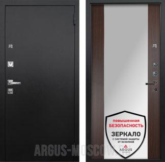 Металлическая входная дверь с зеркалом Аргус Люкс ПРО 3К Черный шелк Вояж Венге