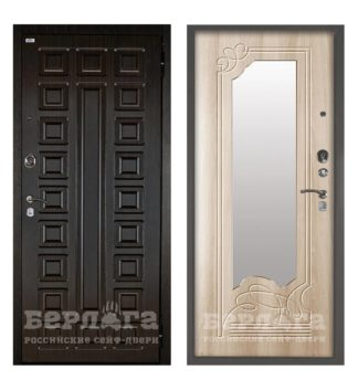 Дверь с зеркалом Берлога Оптима 2П Сенатор Венге/Ольга Ларче светлый