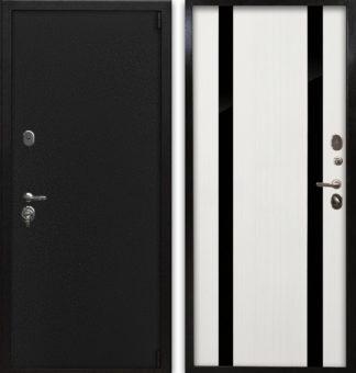Купить металлическую дверь со вставками из черного зеркала Воевода Сотник-1 Арина Белое дерево