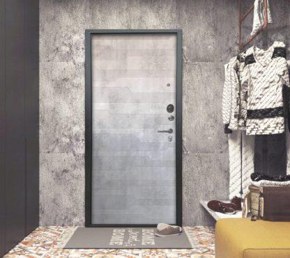 Стальная входная дверь Аргус Люкс АС Серебро антик Техно Светлый бетон