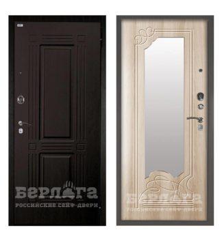 Сейф-дверь с зеркалом Берлога Оптима 2П Триумф Венге/Ольга Ларче светлый