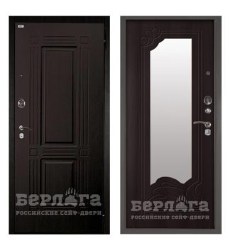 Сейф-дверь с зеркалом Берлога Оптима 2П Триумф Венге/Ольга Венге тисненый