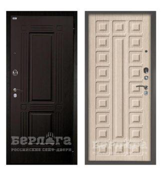 Входная стальная сейф-дверь Берлога Оптима 2П Триумф Венге/Сенатор Ларче светлый