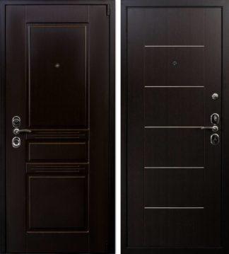 Входная металлическая дверь с молдингами Воевода Твердыня Чиза Венге