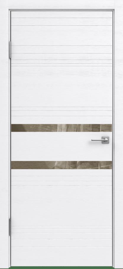 Межкомнатная дверь Александровские двери (ALUM 13) Алюм 13 Вельвет белый горизонт с зеркальными вставками